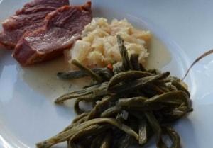 Dörrbohnen Sauerkraut und Schüfeli