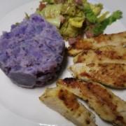 Truthahn mit blauem Kartoffelstampf, Wirtz und Speck