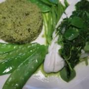 Grünes Menue Rotzungenfilet mit grünem Couscous