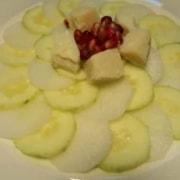 Rettich Gurken Salat mit Parmesan und Granatapfelkernen