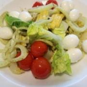 Bunter Salat mit Tomaten Fenchel Mozzarella Mais und Lattich