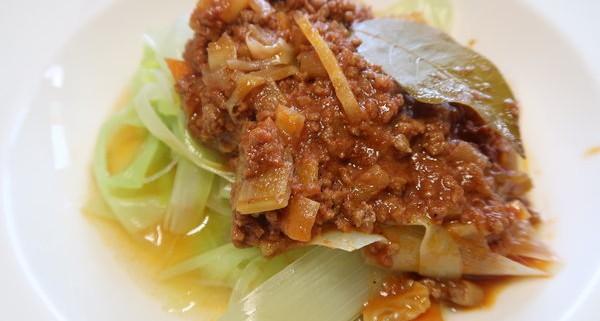 Lauchspaghetti mit Sauce Bolognese