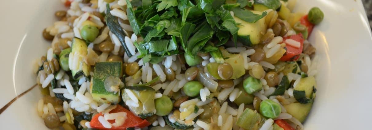 Bunte Reis, Linsenpfanne mit Gemüse