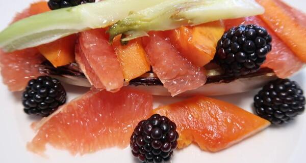 Gebratener Cicorino Rosse mit Fenchel Grapefruit und Brombeeren